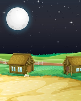 Scena farmy ze stodołą i młynem w nocy