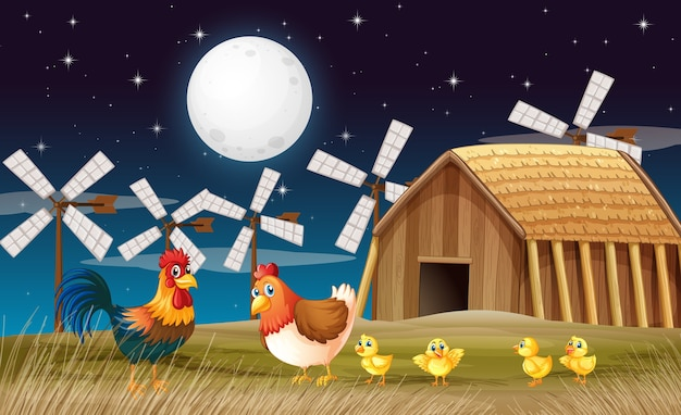 Scena farmy ze stodołą, wiatrakiem i kurczakiem w nocy
