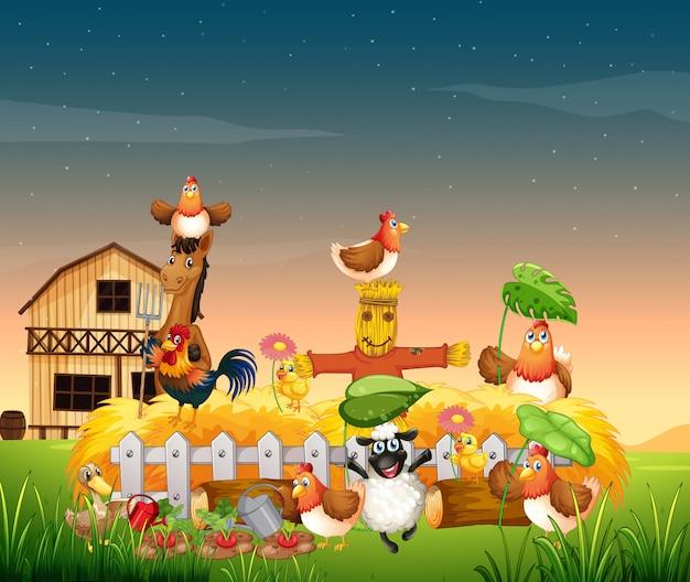 Scena farmy ze stylem kreskówki farmy zwierząt