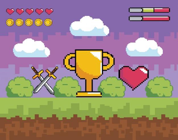 Scena gier wideo z pikselową nagrodą pucharową i mieczami z sercem