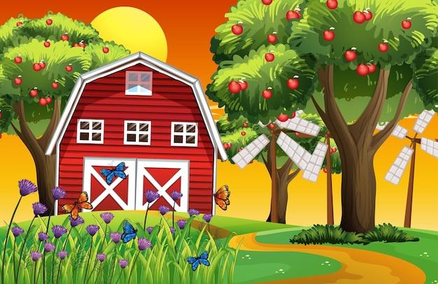 Scena gospodarstwa z czerwoną stodołą i ilustracją wiatraka