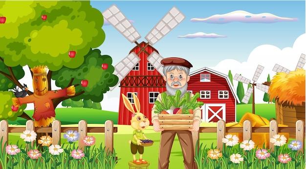 Scena gospodarstwa ze starym rolnikiem i zwierzętami gospodarskimi