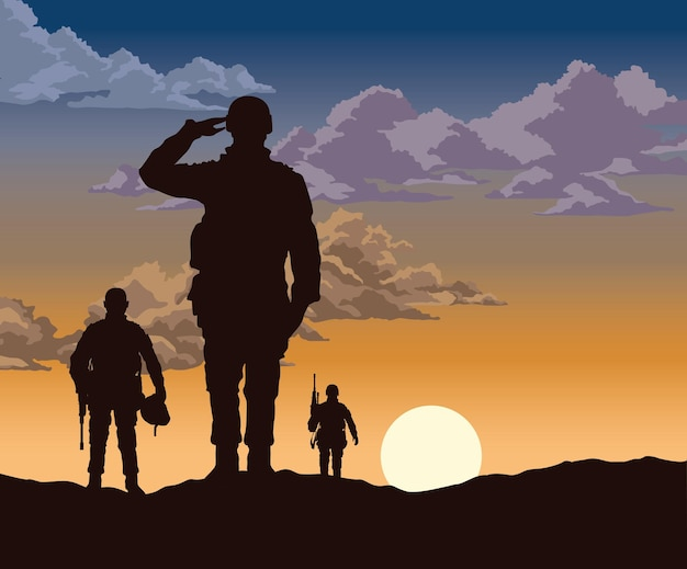 Scena grupy żołnierzy