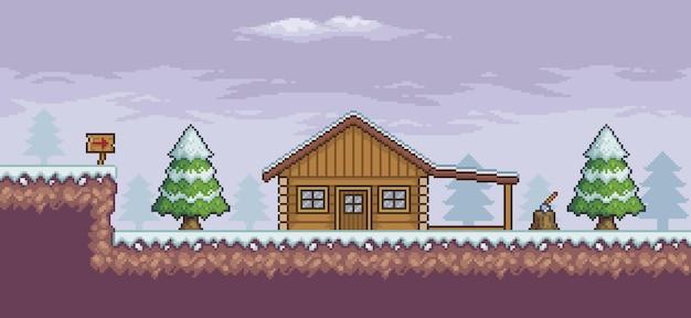 Scena gry pikselowej w śniegu sosny drewniany dom tablica orientacyjna 8-bitowe tło