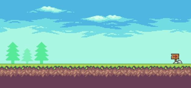 Scena gry zręcznościowej pixel art z chmurami drzew i 8-bitową drewnianą tablicą