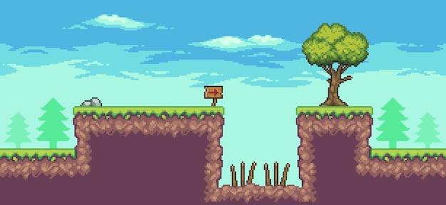 Scena gry zręcznościowej w pikselach z pułapką na planszy drzew i chmurami 8-bitowym tłem