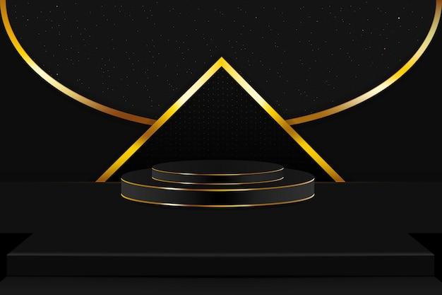 Scena i podium w kolorze złotym i czarnym z drobinkami błyszczących gwiazd