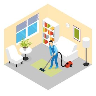 Scena izometryczna usługi sprzątania