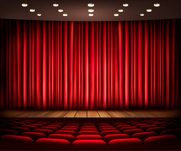 Scena kinowa lub teatralna z zasłoną.