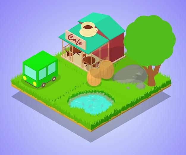 Scena koncepcja kawiarni wsi