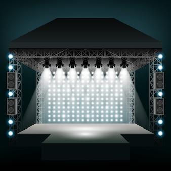 Scena koncertowa z reflektorami. show i scena, rozrywka disco party.