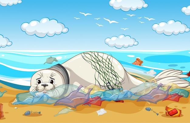 Scena kontroli zanieczyszczeń z foką i plastikowymi torbami