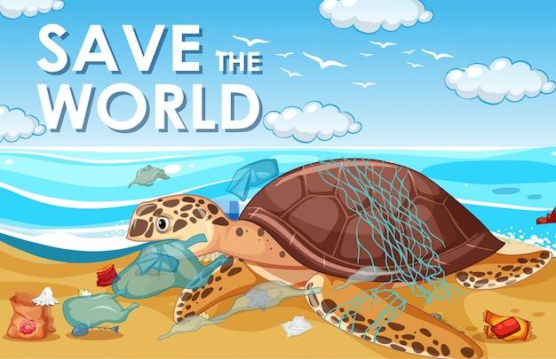 Scena kontroli zanieczyszczeń z żółwiem morskim i plastikowymi torbami