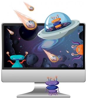 Scena kosmiczna na tle pulpitu komputera