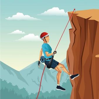 Scena krajobraz człowiek góra zejście z sprzęt wspinaczka skałkowa