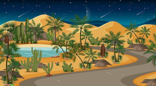 Scena krajobraz pustyni lasu w nocy