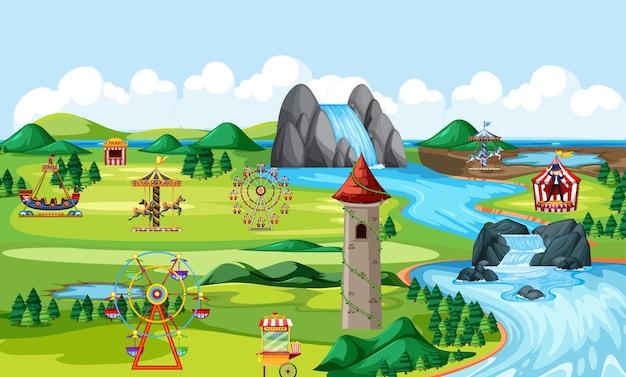 Scena krajobrazowa parku rozrywki tematycznej i wiele scen krajobrazowych przejażdżek