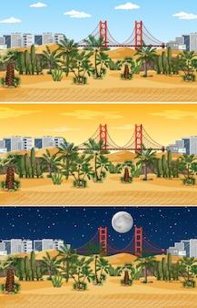 Scena krajobrazowa pustyni o różnych porach dnia