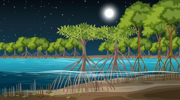 Scena krajobrazu lasu namorzynowego w nocy