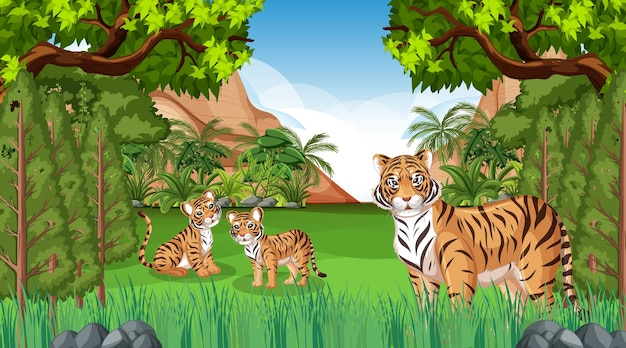 Scena lasu lub lasu deszczowego z rodziną tygrysów