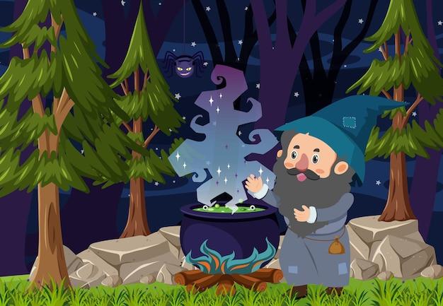 Scena lasu nocą z czarodziejem pisującym z garnkiem mikstury