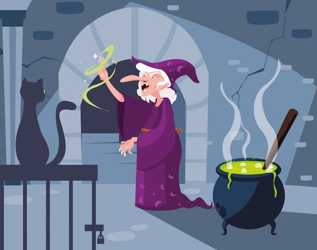 Scena legowiska czarownic z czarnym kotem i kotłem