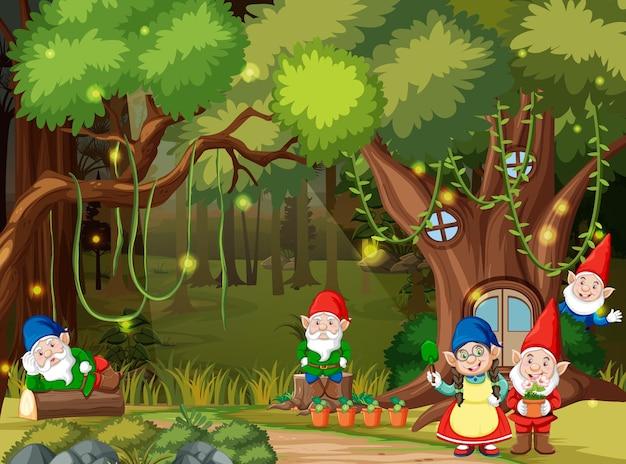 Scena leśna fantasy z rodziną gnomów