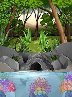Scena leśna z jaskini i drzew