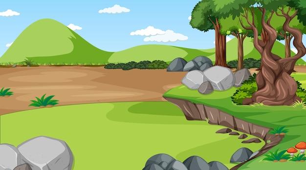 Scena leśna z różnymi drzewami leśnymi i górami
