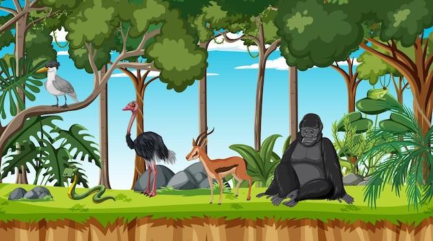 Scena leśna z różnymi dzikimi zwierzętami