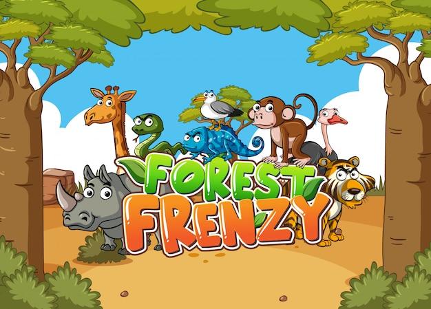 Scena leśna z słowo szał lasu i dzikich zwierząt