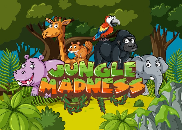 Scena leśna ze słowem szaleństwo dżungli z dzikimi zwierzętami