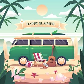 Scena letnia szczęśliwego lata zielona furgonetka zaparkowana na plaży w relaksujący dzień leżaki gitary piłki plażowe deska surfingowa