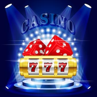 Scena lub podium w świetle reflektorów - cokół z nagrodami w kasynie