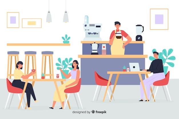 Scena ludzi siedzących w kawiarni