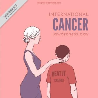 Scena matki z synem raka światowy dzień tle