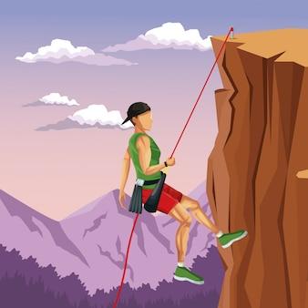 Scena mężczyzna krajobrazowego spadku górskiego rockowy pięcie