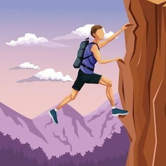 Scena mężczyzna krajobrazowy pięcie na rockowej górze