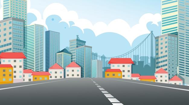 Scena miasta widok ulicy