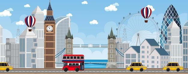 Scena miejska londynu z wieloma zabytkami