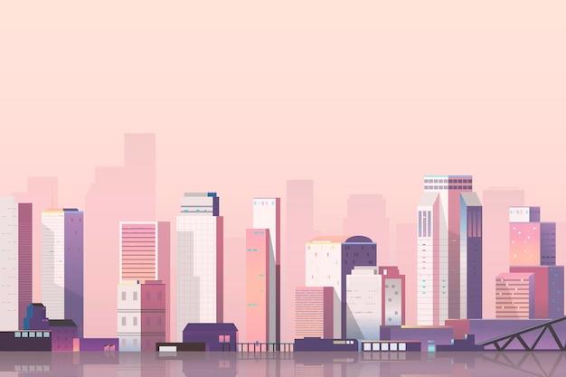 Scena miejska na tle zmierzchu