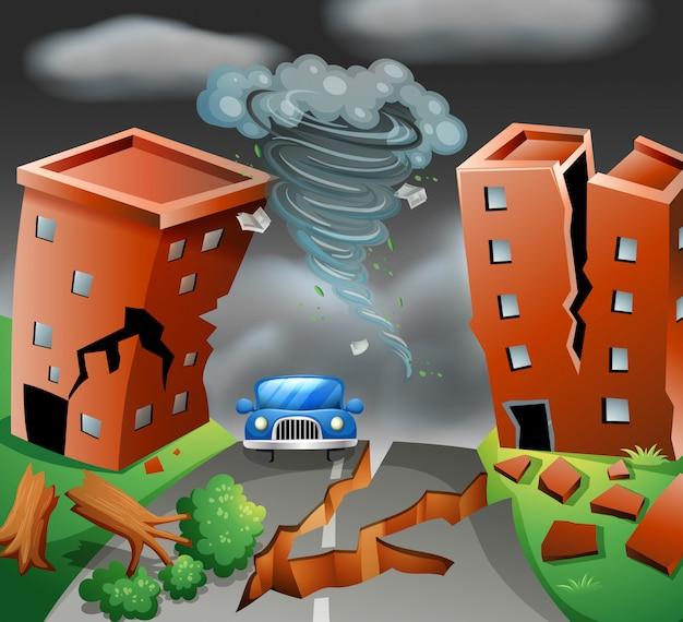 Scena miejska tornado diaster