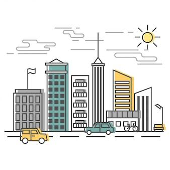 Scena miejska, ulica miasta z budynkami i samochodami. ilustracja w stylu.