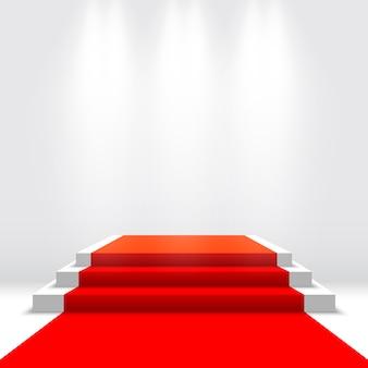 Scena na ceremonię wręczenia nagród. białe podium z czerwonym dywanem. piedestał. ilustracja.