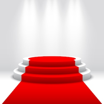 Scena na ceremonię wręczenia nagród. białe podium z czerwonym dywanem. piedestał. scena okrągła. ilustracja.