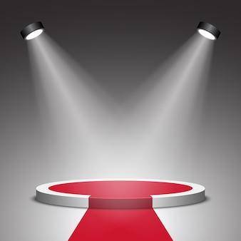 Scena na ceremonię wręczenia nagród. białe podium z czerwonym dywanem. piedestał. scena. reflektor. .