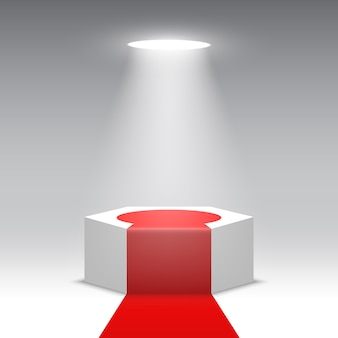 Scena na ceremonię wręczenia nagród. białe podium z czerwonym dywanem. piedestał. scena sześciokątna. ilustracja.
