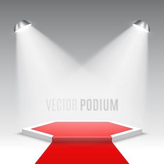 Scena na ceremonię wręczenia nagród. białe podium z czerwonym dywanem. piedestał. scena sześciokątna. .