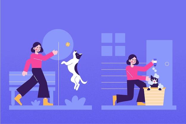 Scena na co dzień ze zwierzętami domowymi