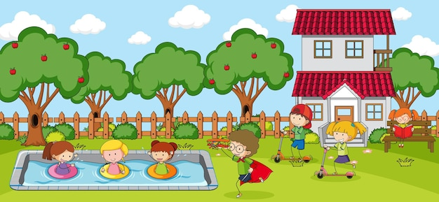 Scena na placu zabaw z wieloma dziećmi doodle postać z kreskówki